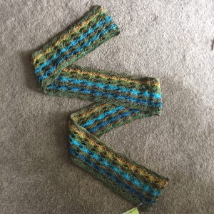 Knitted Cross Stitch Scarf In Turquoise